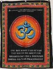 * Indian Om Sequined Wall Hanging * Fair Trade * Small * Blue Om