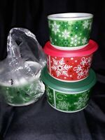 Tupperware SNOW FLAKE CHRISTMAS HOLIDAY CANISTER SET NEW