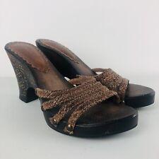 *PRELOVED* Dolcis Brown Wooden Platform Sandal Heels UK 4 | EUR 37 | US 6