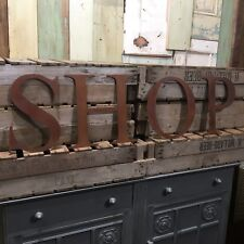 Rustic SHOP Letters Sign Rusted Metal vintage Industrial Cafe Restaurant Barbers