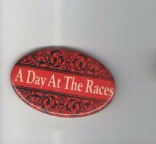 Vintage pin A DAY at the RACES pinback Ornate ARTY OVAL button