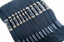 Embroidery Floss 36 SKEINS Black Color 8.75 Yards 100% Mercerized Cotton,6 Stran