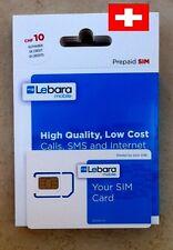 New! Prepaid Swiss sim card with 10 CHF Internet and voice Sunrise Switzerland