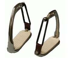 """ADULT OR CHILDRENS ENGLISH SADDLE SAFETY STIRRUPS BREAKAWAY PEACOCK IRONS 4 3/4"""""""