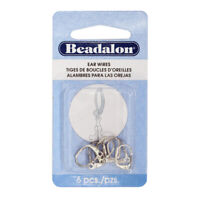 Beadalon® Fleur De Lis Leverback Ear Wires with Open Ring Silver Plated 6 pieces