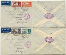 INDIA AIRMAIL AIR A to KENYA CENSORED TORRS HOTEL + UNION INS.SOC CANTON OVAL