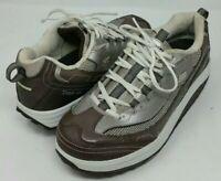 Skechers Shape Ups Womens Platform Fitness Walking Shoes Sneakers Bronze Size 11