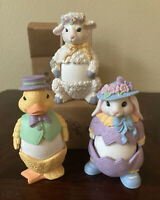 AVON Egg Pals Ornament Gift Collection Set of 3 Bunny Duck Lamb Vintage 1992 NOS