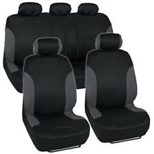 Gray / Black Seat Cover for Car Auto SUV Polyester Cloth 6040 Split Bench Zipper