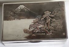 FINE LARGE ANTIQUE MEIJI STERLING SILVER MIXED METALS SCENIC BOX