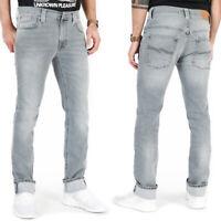 Nudie Herren Slim Skinny Fit Organic Stretch Jeans Hose |Thin Finn Pale Lead