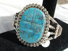 Native American Navajo sterling silver inlaid turquoise bracelet signed 83.7 gr