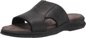 Mens Clarks Hapsford Slide Sandal - Black Tumbled Leather [261 58085]
