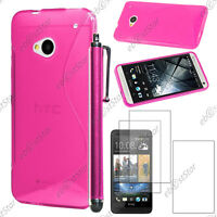 Housse Etui Coque Silicone S-line Gel Rose HTC One M7 + Stylet + 3 Film écran