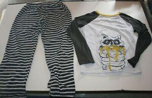 Used Boys Cat & Jack 2 Piece PJs XL 16 year Top & Fleece Pants Set Raccoon