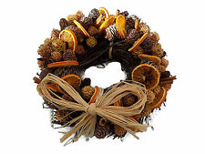 Christmas scented Fruit wreath Orange Slices,Cinnamon Sticks and cones 25cm