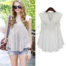 Fashion Women Summer Blouse Lace Splice Chiffon Sleeveless VVest Tank Tops Shirt