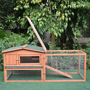 Rabbit Hutch Cage Wooden Bunny House 2 Tier Asphalt Floor Chicken Run Outdoor