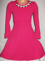GIRLS CERISE PINK PEARL NECKLACE TRIM SPECIAL OCCASION PROM PARTY DRESS age 9-10