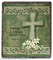 """THROWS - PEACE TAPESTRY THROW - 50"""" X 60"""" THROW BLANKET - CROSS"""