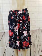 Carolyn Strauss Collection black floral skirt knee length  W/elastic Sz 3X NEW