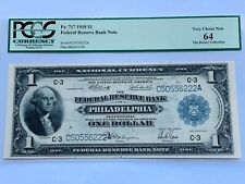 1918 $1 Federal Reserve Bank Note Philadelphia Fr. 717 - PCGS 64 Very Choice New