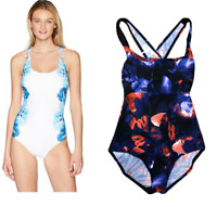 Calvin Klein Women's Printed Cross Back One Piece Swimsuit Tummy Control, Size 6