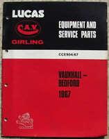 LUCAS VAUXHALL & BEDFORD Spares List 1967 #904/67 VICTOR Viva CRESTA VX4/90 ++