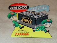 "VINTAGE AMOCO SERVICE STATION BATTERIES W/ ATTENDANT 13"" METAL GASOLINE OIL SIGN"