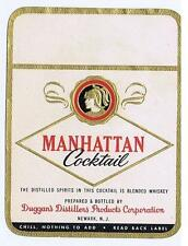 MANHATTAN Cocktail, Duggans Distillers, Newark NJ, antique whiskey label #214