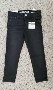 NWT Baby Gap Girls Black Distressed Skinny Jeans w/ Ankle Side Zipper Sz 5T