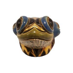 DeRosa Frog Toad F315 Figurine Ceramic Hand Painted Enamel Green Blue 18K Gold