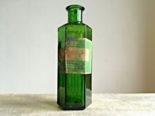 More details for vintage embossed small - boots chemists sheffield - green glass poison bottle