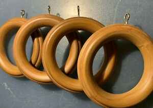 """4 Pack Wood Ribbed Drapery Curtain Rod Rings for 2-1/4"""" Pole, NATURAL FINISH"""