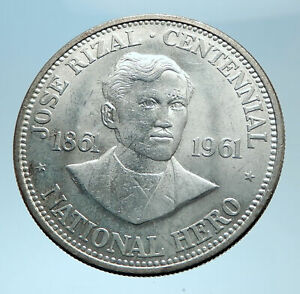 1961 PHILIPPINES with Jose Rizal Nationalist Antique Silver 1 Peso Coin i78081