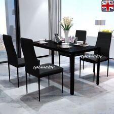 Glass Dinning Table 4 Chair Sets Rectangular Gloss Dining Room Kitchen Black UK