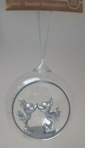 NEW Disney MICKEY & MINNIE MOUSE Kiss Christmas Tree Bauble Decoration Ornament