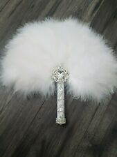 Feather fan PURE WHITE bouquet for bride  Custom made to order