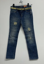 Old Navy Girls Skinny Blue Jeans Size 14 Belt Distressed Embroidered Adjustable
