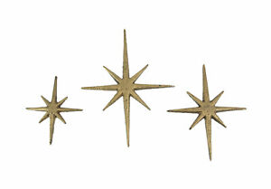 Set of Three Metallic Gold Cast Iron 8 Pointed Starburst Wall Hangings Mid