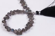 """Labradorite Faceted Side Drilled Tear Drops,7"""" Long String,4.5x6.6-5x8 MM Approx"""