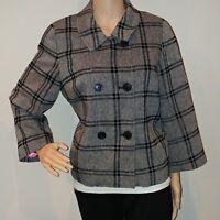 Isaac Mizrahi Wool Peacoat Size L Large Womens Double Breasted Jacket Blazer