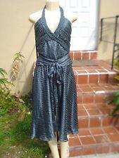Alexandra Vidal (PROJECT RUNWAY) GRAY SILK STRIPED HALTER COCKTAIL DRESS Sz 10