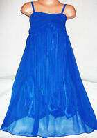 GIRLS BLUE MULTI COLOUR TRIBAL ART PRINT BOHO PEASANT FULL LENGTH MAXI DRESS
