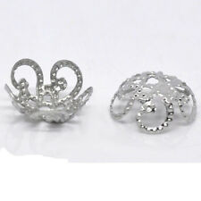 New Fashion 100Pcs Silver Plated Flower Bead Caps Jewelry Make Findings 10*5MM