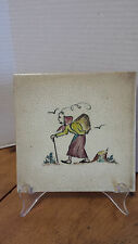 "Antique Ceramic Tile OLD WORLD  Peasant Woman PIPE Smoking cane, 6"" sq"