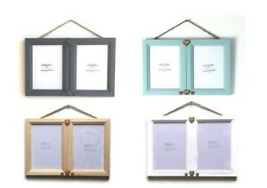 Double Duo Photo Picture Frame Wall Hanging Rustic Plaited Twine & Hearts
