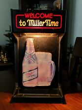 New listing Vintage Welcome To Miller Time Lighted Bar Back Beer Sign 1982 Brewing Company
