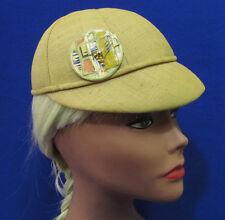 Vintage Womens Beanie Hat Mustard Yellow Brim Geometric Accent Circle