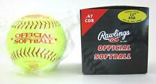 "Lot Of 6 Rawlings 12"" ASA Yellow Cover Leather Softballs / ASA12Y47L"
